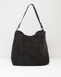 Кожаная сумка на плечо Pieces - Черный