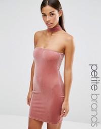 Бархатное облегающее платье с чокером Boohoo Petite - Mauve