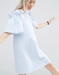 Платье в полоску с оборками ASOS WHITE - Мульти