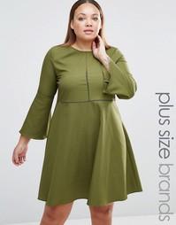Платье с рукавом-колокол Praslin Plus - Хаки
