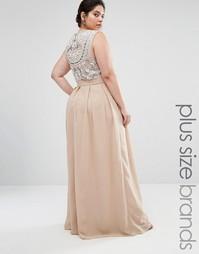 Платье макси с декоративной отделкой сзади Lovedrobe Luxe - Mink