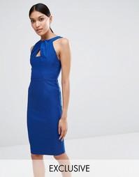 Платье‑футляр с перекрутом на горловине Vesper - Яркий темно-синий