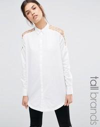 Удлиненная рубашка с вырезами и шнуровкой Noisy May Tall - Белый