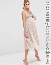 898d581e810caca Платье для беременных с юбкой из тюля и декоративной отделкой Maya Mat