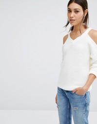 Вязаный джемпер с открытыми плечами Vero Moda - Белый