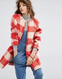Нетканое шерстяное пальто в клетку Maison Scotch - Красный