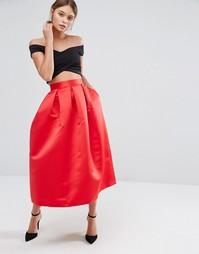Пышная атласная юбка миди для выпускного Closet - Красный