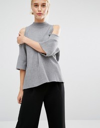 Oversize-джемпер с открытыми плечами Monki - Серый