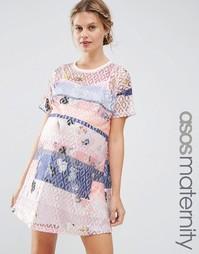 Кружевное цельнокройное платье с принтом ASOS Maternity - Мульти