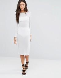 Платье-футляр миди с длинными рукавами Glamorous - Серебристый люрекс