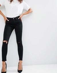 Рваные черные джинсы скинни ASOS Ridley - Черный