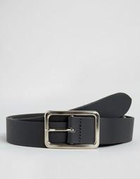 Классический черный кожаный ремень с прямоугольной пряжкой ASOS