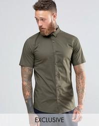 Строгая рубашка скинни с короткими рукавами Only & Sons - Хаки