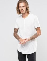 Длинная асимметричная футболка из фактурной ткани в стиле ретро ASOS