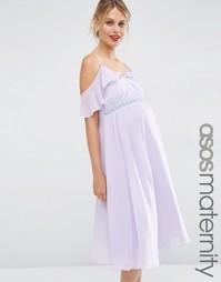 Платье миди для беременных с открытыми плечами ASOS Maternity