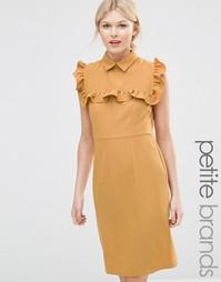 Платье-футляр с оборками на груди Alter Petite - Охра