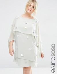 Многослойное платье миди с отделкой 3D ASOS CURVE - Серый