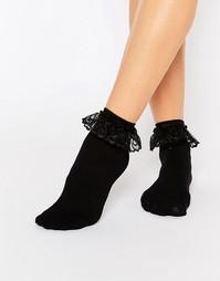 Носки с кружевными оборками Leg Avenue - Черный