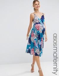 Синее плиссированное платье миди с цветочным принтом ASOS Maternity