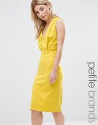 Платье-футляр длины миди с V-образным вырезом Alter Petite - Желтый