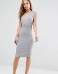 Платье-футляр длины миди с V-образным вырезом Alter - Светло-серый