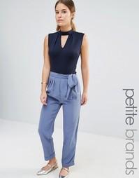 Строгие брюки с завязкой на поясе Alter Petite - Васильковый синий