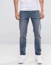 Синие выбеленные эластичные джинсы слим ASOS - Умеренный синий