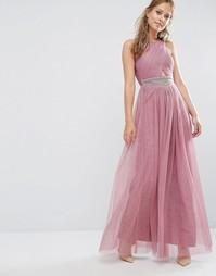 Платье макси с декоративной отделкой Little Mistress - Темно-розовый