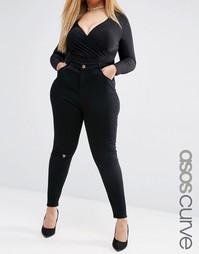 Черные рваные джинсы скинни с завышенной талией и золотистой отделкой Asos Curve