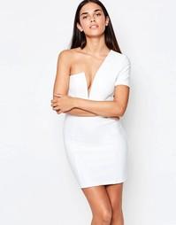 Облегающее платье с одним рукавом и глубоким вырезом Rare - Белый