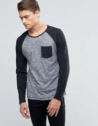 Лонгслив с контрастными рукавами реглан и карманом Esprit - Черный