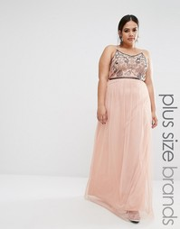 Платье макси с вышивкой из пайеток Boohoo Plus - Телесный