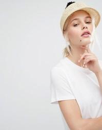 Соломенная шляпа с помпоном Monki - Бежевый