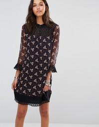 Платье с принтом полевых цветов Anna Sui - Plum multi