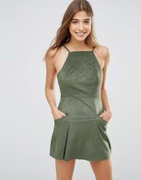 Платье мини с квадратным вырезом на спинке Oh My Love - Хаки
