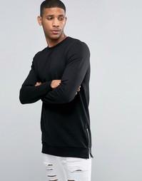 Черный удлиненный облегающий свитшот с молниями по бокам ASOS - Черный