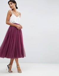 Многослойная юбка для выпускного из тюля ASOS WEDDING - Сливовый