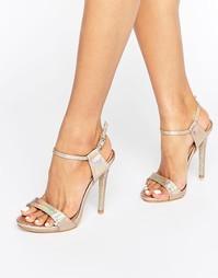 Золотистые голографические сандалии на каблуке Public Desire Riya