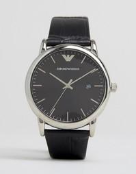 Часы с черным узким кожаным ремешком Emporio Armani AR2500 - Черный