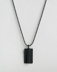Черное матовое ожерелье с солдатским жетоном с логотипом Chained & Abl