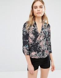 Блузка с принтом и разрезом спереди Sisley - 901