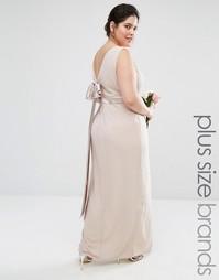 Платье макси с запахом спереди и бантом сзади Tfnc Plus Wedding