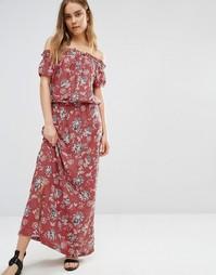Платье макси с открытыми плечами и цветочным принтом First & I