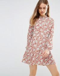 Платье-рубашка с заниженной талией и цветочным принтом First & I