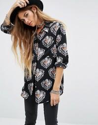 Oversize-рубашка с принтом Reclaimed Vintage - Черный