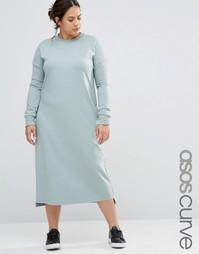 ASOS CURVE Casual Column Midi Dress With Long Sleeve - Сине-зеленый