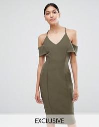 Платье-футляр на бретельках с открытыми плечами Vesper - Хаки