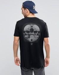 Удлиненная футболка с принтом черепа сзади ASOS - Черный