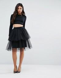 Многослойная юбка из тюля Boohoo - Черный