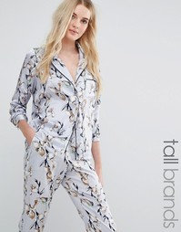 Атласная блузка в пижамном стиле с цветочным принтом Vero Moda Tall